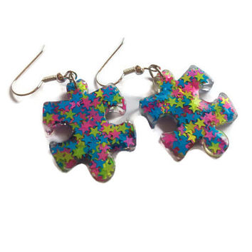 Autism Awareness All Stars Puzzle Piece Resin Dangle French Hook Earrings, Autism Jewelry, Neon Stars
