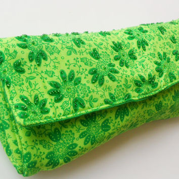Emerald Green Diaper Clutch in Flower Pattern with Beades