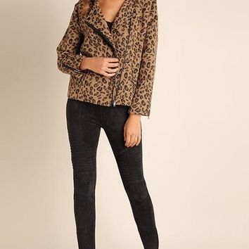 Double Breasted Leopard Moto Jacket (final sale)