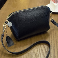 Fashion Women Black Genuine Leather Shoulder Bag Female Casual Crossbody Messenger Bags Chic Handbag Gift 38