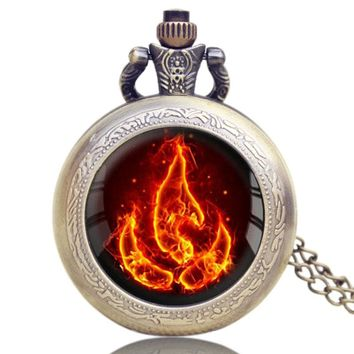 Pocket Watch Avatar the Last Airbender Fire Firebending High Grade Chain Necklace Men Cool Gift