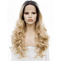 Long Gold Blonde Dark Root Ombre Wave Synthetic Lace Front Wig