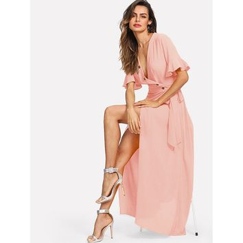 Bell Sleeve Buttoned V-Neck Wrap Dress Pink
