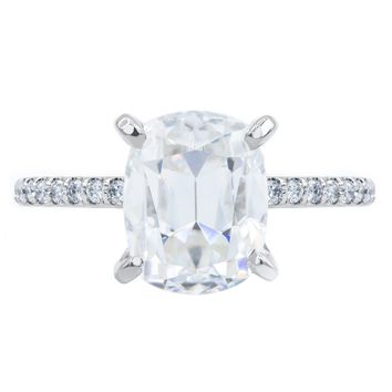 **NEW** Elongated Cushion Old Mine Cut (OMC) Moissanite 4 Prongs Diamond Accent Ice Solitaire Ring