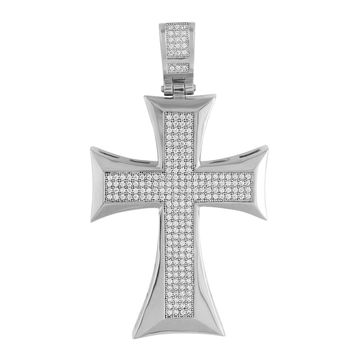 Mens Jesus Cross Pendant Stainless Steel Micro Pave Set