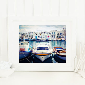 Greece digital download, travel photography printable, fishing boats in a row, Naoussa harbor, Greek architecture, sea, wall art, home decor