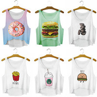 New 2016 Women Food Printed Crop Tops Cute Girl Sexy Cropped Tank Top Summer Harajuku Style Camisole Youth Elastic Vest