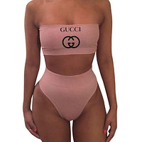 FENDI & Moschino & GIVENCHY & Dior & LV & Balenciaga & Gucci Summer Fashion New High Waisted Letter Print Strapless Two Piece Bandeau Bikini Swimsuit