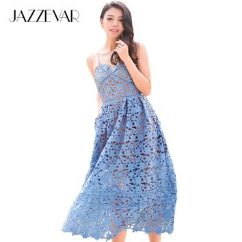 JAZZEVAR new SS Socialite elegant lace dress women's red Classic Embroidery Hollow Out party dress sexy dress good quality