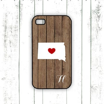 South Dakota iPhone Case - Monogrammed iPhone Case on Wood Background with Heart - State Love
