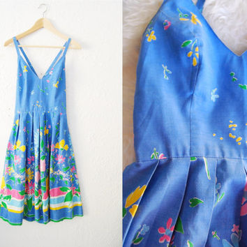 Vintage Blue Floral Print Cotton Criss Cross Back Full Skirt Dress Summer Picnic