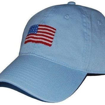 American Flag Needlepoint Hat in Sky Blue by Smathers & Branson