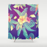 Tropical flowers Shower Curtain by printapix