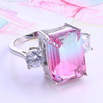 Cotton Candy Emerald Cut Simulated Tourmaline Ring