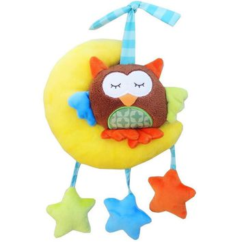 Infanty Cute Animal Crib Mobile Hanging Dolls Cartoon Monkey Bear Owl soft Stuffed plush Rattles for baby