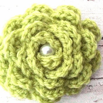 Lime green crocheted flower brooch floral pin