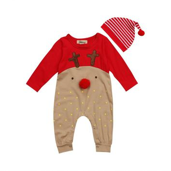 2 Piece Reindeer Romper + Hat Set