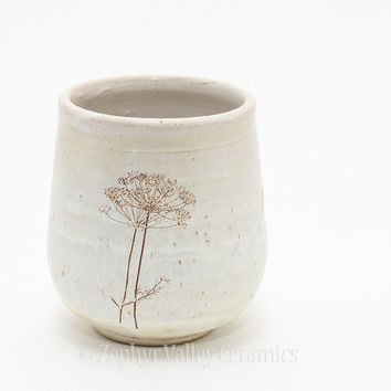 Homegrown Dill Wine Cup - Pottery Tea Bowl - Yunomi - Juice Cup - Pottery Glass - Handleless Mug - White Antiqued Style - Herbal - Botanical