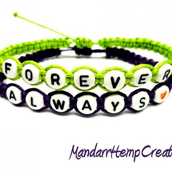 Forever and Always Bracelet Set, Lime Green and Dark Purple, Macrame Hemp Jewelry, Couples Bracelets, Made to Order