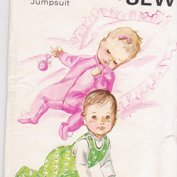 Vintage 1970s pattern for babies knit, zip front sleeper and button shoulder jumpsuit size s m l xl Kwik Sew 243 CUT and COMPLETE