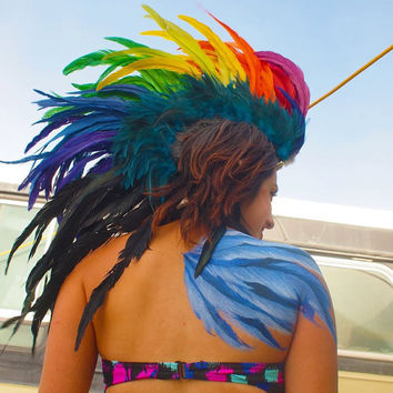 Customizable Feather Mohawk / Headdress Rainbow by michellecuriel