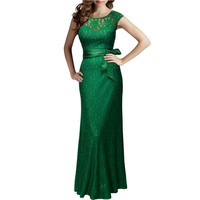 2016 UK Summer Women Evening Party Lace Long Dresses Green Maxi Elegant Prom Fashion Casual Ladies Clothes Wedding  Vestidos