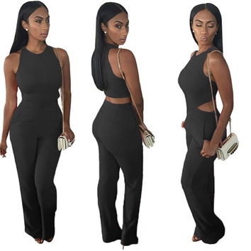 Hot Sale Sleeveless Pants Women's Fashion Sexy Backless Jumpsuit [4918902276]