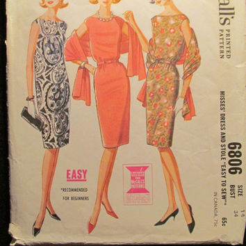 Sale Uncut/Cut 1960's McCall's Sewing Pattern, 6806! Size 14 Bust 34 Small/Medium/Women's/Misses/Quickie Sleeveless Evening Dresses/Knee Len