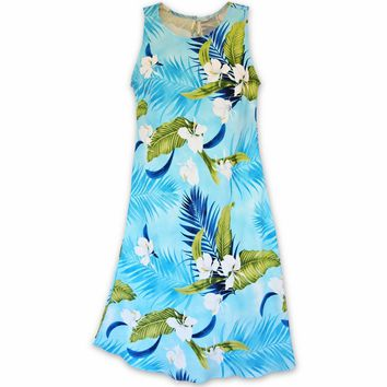 Ginger Breeze Blue Rhythm Hawaiian Dress