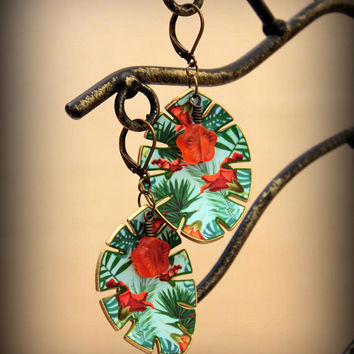 Jungle Earrings - Jungle Jewelry - Jungle Leaf - Summer Earrings - Tropical Earrings - Leaf Earrings - Summer Vacation - Palm Trees - Ocean