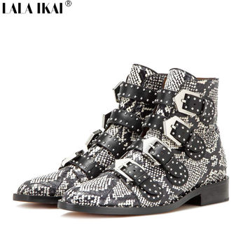 LALA IKAI 2016 Luxury Women Studded Boots Genuine Leather Plus Size Boots Women Rivets Snakeskin Pattern Ankle Boots XWN1256-0.5