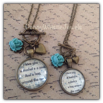 Mommy & Me Necklaces, Quote Necklaces, I Love You Necklaces, Mommy And Me Jewelry, Gift For Mom And Daughter, Mother's Day, PennyWhistle