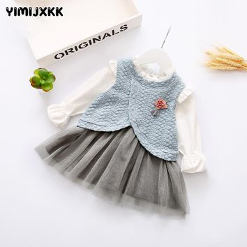 M&F 2017 Spring Baby Girl Tutu Dresses Cotton Long Sleeve Beautiful Infant Clothing New Arrival 2 Pieces Baby Princess Dresses