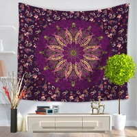 SunnyRain 1-Piece Mandala Pattern Tapestry Printed Decorative Mandala Tapestry Indian 130cmx150cm Boho Wall Carpet