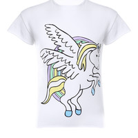 Unicorn Cropped Tee in White