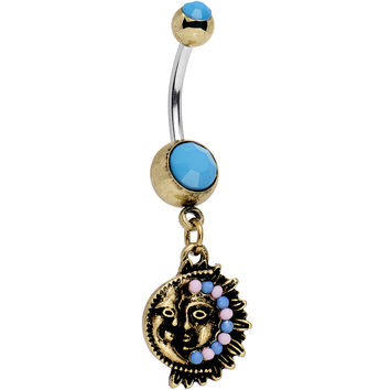 Faux Turquoise Southwestern Fun with Moon and Sun Dangle Belly Ring