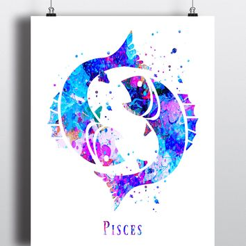 Pisces Astrology Art Print - Unframed