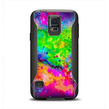 The Neon Splatter Universe Samsung Galaxy S5 Otterbox Commuter Case Skin Set