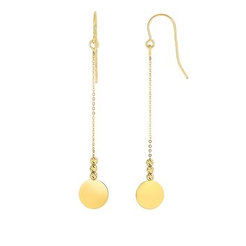14K Yellow Gold Diamond Cut Bead+Flat Shiny Disc  Drop Earring with Euro Wire Clasp