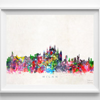 Milan Skyline Print, Italy Print, Milan Poster, Italian Cityscape, Watercolor Painting, Wall Art, Decor, Dorm Decor, Christmas Gift