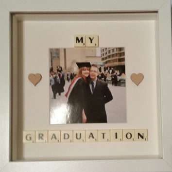 My Graduation gift Scrabble Box frame art personalised gift keepsake wall decor. Parent gift personalised memory frame