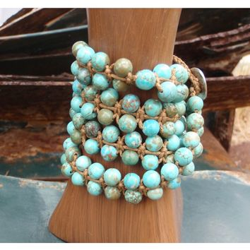 Double-Strand Turquoise Beaded Leather Wrap