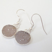 Round Druzy Quartz Silver  Earrings, Gray Round Drusy Druzzy Agate Dipped in Silver Dangle
