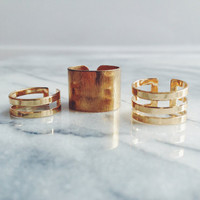 Gold Adjustable Ring Trio