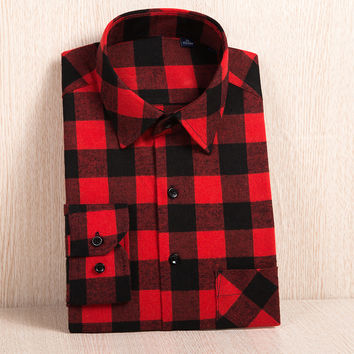 Men's Long Sleeve Plaid Brushed Flannel Shirt with Left Chest Pocket Slim-fit Soft Plus Size Casual Checkered Work Shirts