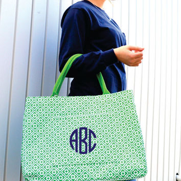 Green Clover MONOGRAMMED Large Tote - Beach Bag - Bridesmaid Gift - Pool - Lake - Personalized Bag