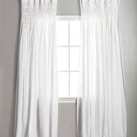 White Smocked Sheer Curtains