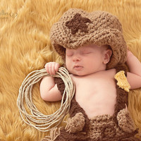 Crochet Cowboy Hat - Cowgirl Hat - Photography Prop - Country Boy - Baby Boy - Baby Girl - Chic -Western - newborn, child, toddler