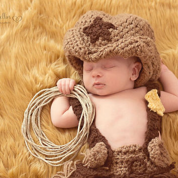 c61d48d0034e Crochet Cowboy Hat - Cowgirl Hat - Photography Prop - Country Boy - Baby Boy  - Baby Gi