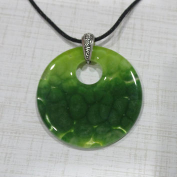 Green Statement Necklace, Fused Glass Pendant, Green Pendant, One of a Kind Pendant, Fused Glass Jewelry - Patrick's Luck- -6